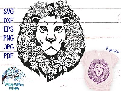 Floral Lion Zentangle SVG vinyl cut file cricut lion svg