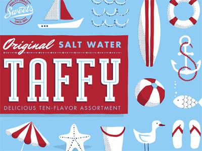 Sweet's Taffy taffy candy packaging bag nautical