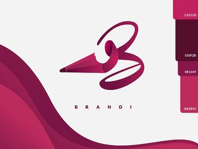 Brandi Logo color brand adobe illustrator vector illustration design logo pink hair