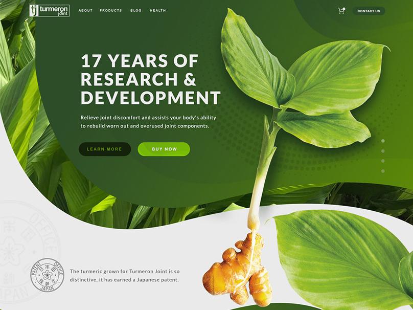 Website Design - Turmeron Joint design photoshop homepage suppliments turmeric japanese website hero fresh green plants