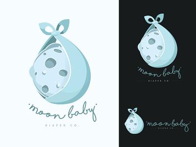 Moon Baby Diaper Co.  — Logo Design drawing design cute diaper baby illustration branding design adobe illustrator vector logo branding