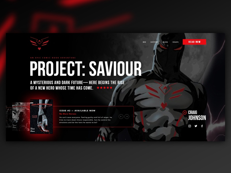 Project Saviour: Home Page Banner UI/UX adobe xd webdesign website design hero homepage ui  ux banner comicbook comics