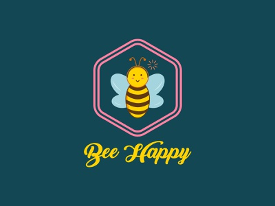 Happy Bee Logo Concept elegant unique modern professional brand identity logo design custom business happy bee logo designer minimalist logo illustration illustrator icon flat minimal logo graphic design branding
