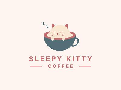 Sleepy Kitty Cafe Logo 3d animation icon logo trending professional brand idenity logo designer unique logo modern logo cafe logo coffee kitty flat illustration illustrator icon minimal logo graphic design branding