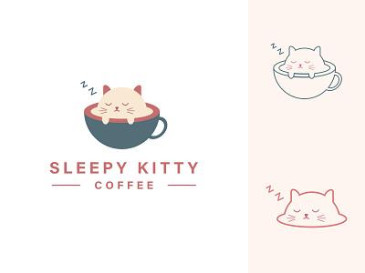 Sleepy Kitty Cafe Logo geometric minimalist creative logo unique logo custom logo cafe logo coffee house cafe coffee cat kitty sleepy illustration illustrator icon flat minimal logo graphic design branding