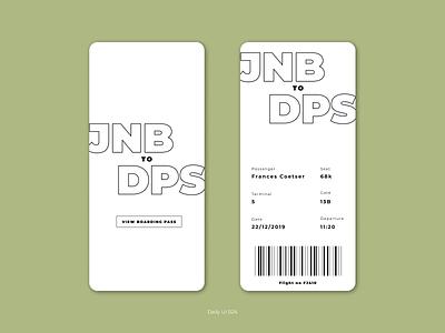 Daily UI 024 - Boarding pass web minimal ux design ux branding ui design ui design dailyuichallenge daily ui 001 daily ui