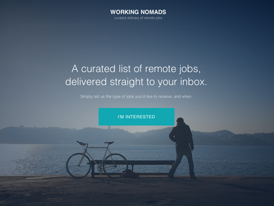 Working Nomads Home Page ui design css3 html5 ux sign up signup form homepage
