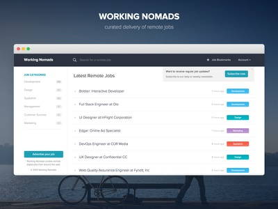 Working Nomads 2.0 ui ux jobs web website layout remote