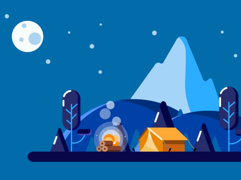 Small world forest mountains trees vector art moon night colorful picnic illustration