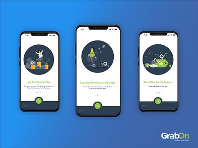 GrabOn App Onboarding Screens grabon uidesign mobile art flatdesign designs illustrations ux branding vector design ui illustration