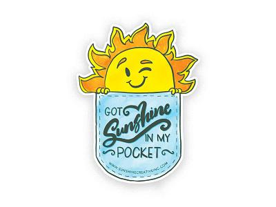 Promotional Sticker lettering blue yellow sunshine design branding self-promotion sticker
