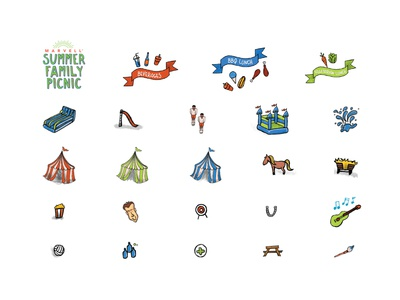 Summer Family Picnic Icons