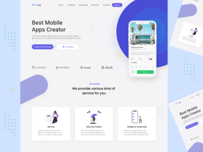 Apps Creator Web Landing Page web icon ux ui material design