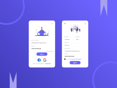 Sign Up And Log In Page icon material design design ux ui