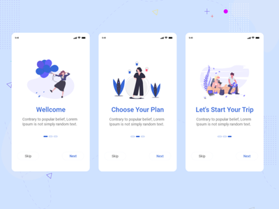 Onboarding Screen flat app illustration material design ui ux icon