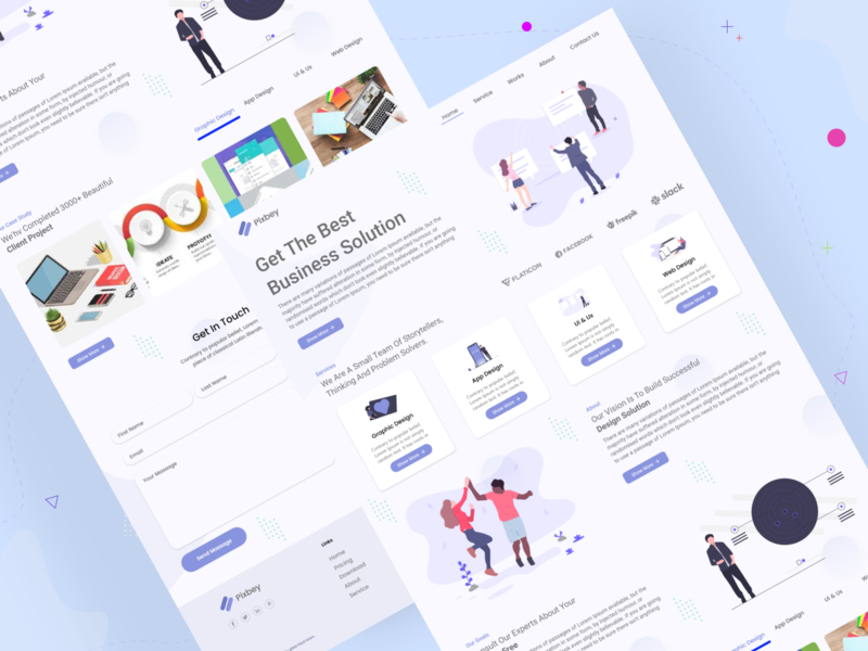 Freelance Agency Landing Page typography illustration website design web material design ux ui icon