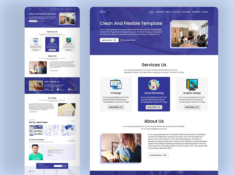 Online Work Agency Landing Page design web ux icon website material design ui