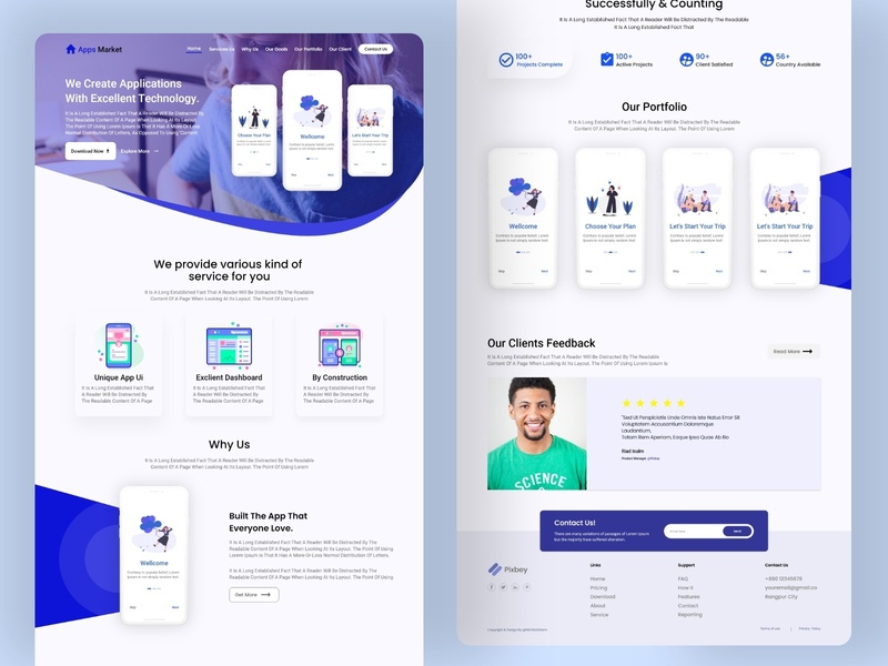 Apps Creator Landing Page typography website design web material design ux ui icon