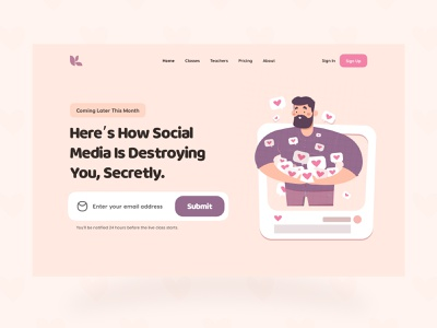 Landing Page: Hero Section education social media email email sign up coming soon hero banner homepage landing page hero section header ui design salmanwap