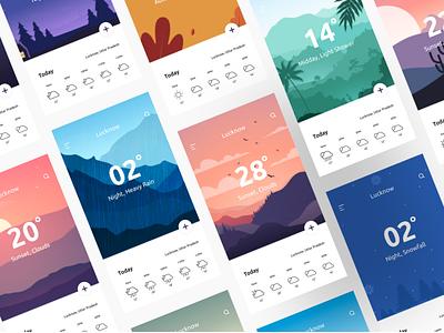 Weather App Cards ui design salmanwap weather illustrations autumn android app app cards ui cards minimal temperature sunny winter seasons rain weather app weather