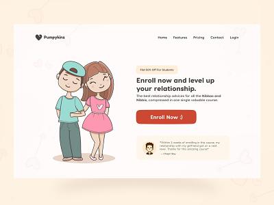 Love Website Concept lovely header course hero section web design website design romantic love kawaii cute ui design minimal salmanwap