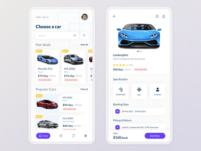 Car rental mobile design ui explorations rent car car app design