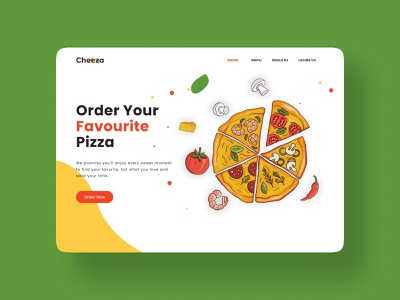 Cheeza Pizza Landing Page service website webdesign landing page culinary interface food pizza app branding flat clean ux minimal ui design