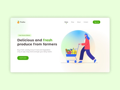Fresh Grocery Delivery colorful web logo minimal explorations design app illustration clean health grocery app website ux ui uiux vegetables fruits grocery