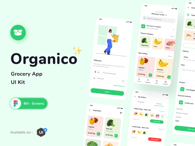 Organico Grocery App UI KIT graphic design component ui mobile app mobile ui prototype grocery ui design uikits typography figma uiux illustration clean explorations ux design app ui