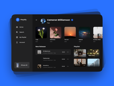 Music Player App spotify website player music explorations clean app design ui music player