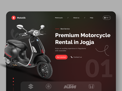 Mototik - Motorcycle Rental Landing Page owwstudio oww figma premium vespa jogja rent motorcycle bike motor rental website minimal explorations ux clean design app ui
