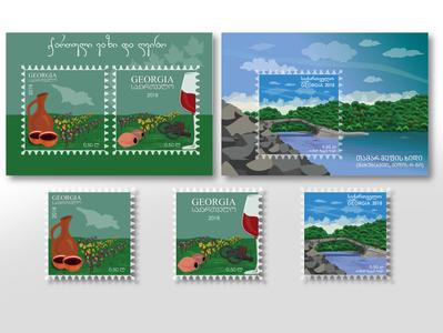 postage stamps nature wine illustrator illustraion stamps postage stamps graphic design graphicdesign