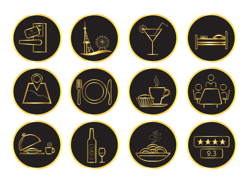 icons design for hotel vector pictograms pictogram golden icons black icons design graphic design