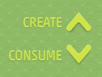 """Create More, Consume Less"" Desktop Background"