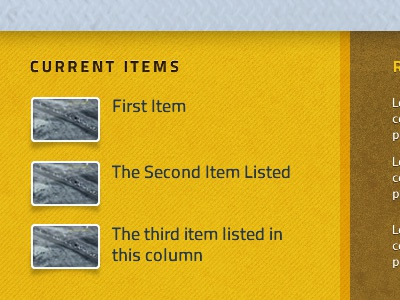 Video Feed list thumbnails yellow website