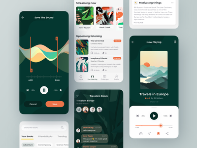 Audiobook concept listen reading book audio art design flat minimal app illustration clean ux ui audiobook