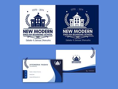 New Modern English School nepal illustration branding logo