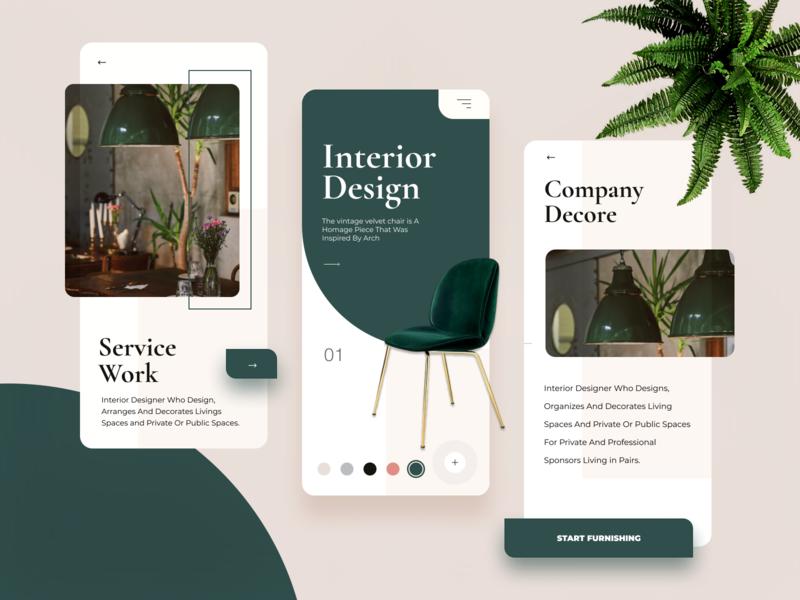 Interior Design App beige green app designer app concept mobile app creativity design decor concept creative elegant minimal ux ui app design ux design popular trendy ui design interior