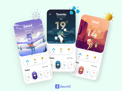 Weather App Design app ui illustrator weather app app design ui flat illustration uidesign