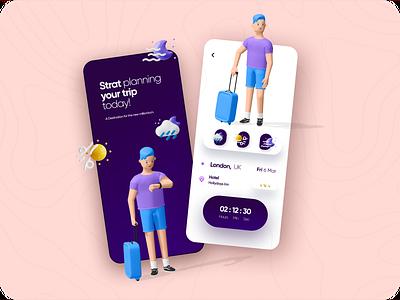 Travel Mobile App Design tour app trip tour travel app 3ddesign 3d art minimalistic productdesign @uiuxdesign @daily-ui designer branding uidesign