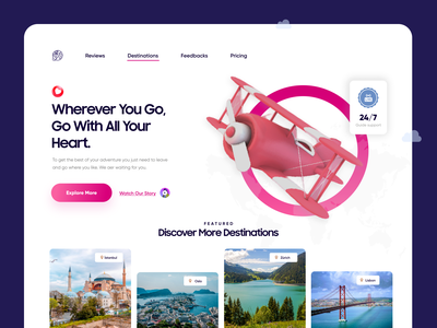 Travel Destinations Landing Page destination hotel online booking travel dashboard mobile app mobile direction art typography minimal creative ux ui design landing page design landing page landing product product design