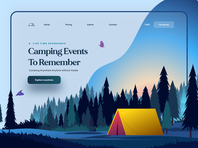 Camping / Adventure / Travel Landing Page trendy illustrator adventure landing page design product design website design web travel camping landing website web design outdoor events modern design app design ui illustration minimal landing page
