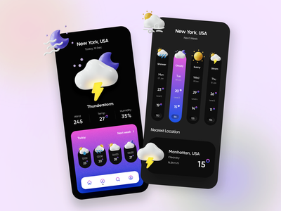 Weather App Concept Design typography product design dark theme dark minimal online search trendy android ios 3d sunny rain weather app weather mobile app design mobile app mobile app design app
