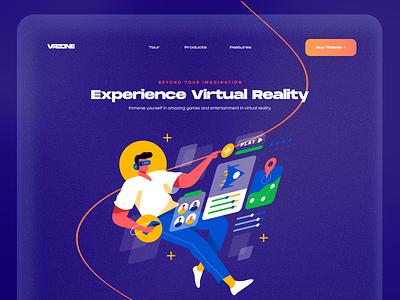 Experience VR Landing Page minimal design app typography product design web app web design website design web website illustration landing page design landing page landing virtual reality augmented reality ai ar virtual vr