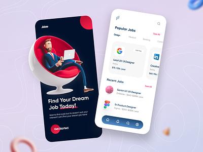 Find a Job App Design product design job application job find animation uidesign ui app design 3d design illustration minimal