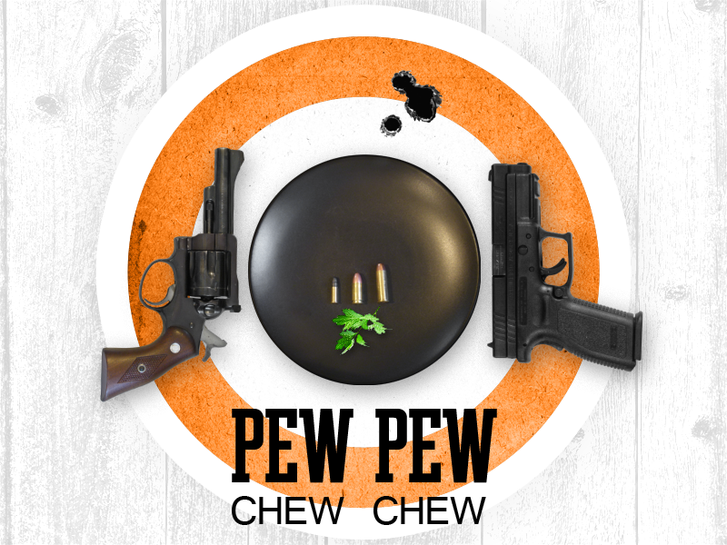 Pew Pew. Chew Chew. Invitation front. guns bullets 9mm .357 magnum target