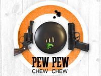 Pew Pew. Chew Chew. Invitation front.