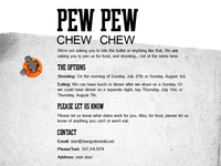 Pew Pew. Chew Chew. Invitation back.