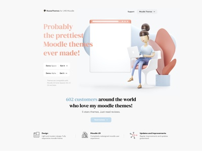 Moodle Themes 2020 - Landing Page elearning education simple landing page ui web illustration 3d minimal landing page moodle