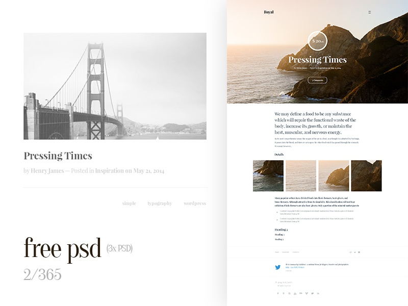 Free Web Design Tumblr Template 2 365 Freebie Clean Psd
